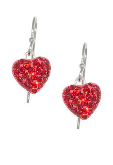 Belk Silverworks Pave Crystal Red Heart Drop Earring