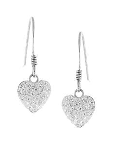 Belk Silverworks Sterling Silver and Pave Crystal Clear Heart Drop Earring