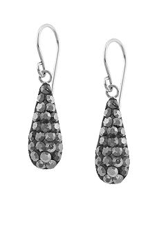 Belk Silverworks Pave Crystal Grey Bat Teardrop Earring