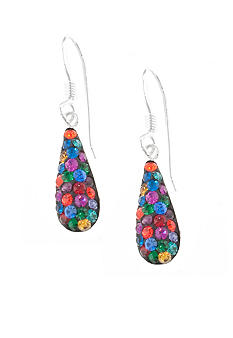 Belk Silverworks Pave Crystal Dark Multi Bat Teardrop Earring