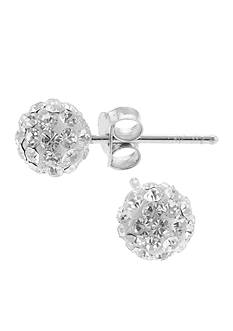 Belk Silverworks Sterling Silver Pave Crystal Ball Stud Pierced Earrings