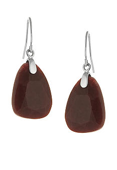 Belk Silverworks Red Jade Chunky Faceted Stone Drop Earrings