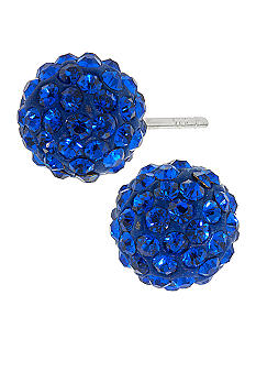 Belk Silverworks Sterling Silver and Pave Crystal Blue Ball Stud Earring