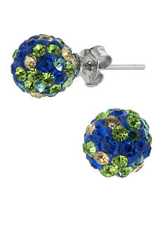 Belk Silverworks Sterling Silver and Pave Crystal Multi Blue 8mm Ball Stud Earring