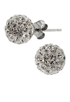 Belk Silverworks Sterling Silver and Pave Crystal Clear 8mm Ball Stud Earring
