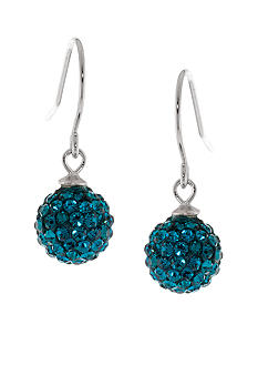 Belk Silverworks Sterling Silver and Pave Crystal Aqua Ball Drop Earring