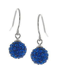 Belk Silverworks Sterling Silver and Pave Crystal Blue Ball Drop Earring