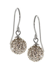 Belk Silverworks Sterling Silver and Pave Crystal Clear Ball Drop Earring