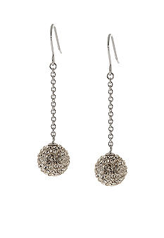 Belk Silverworks Sterling Silver and Pave Crystal Ball Chain Drop Earring
