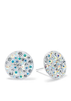 Belk Silverworks Sterling Silver Pave Crystal Disc Earring