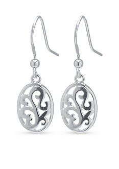Belk Silverworks Sterling Silver Filigree Oval Drop Earrings