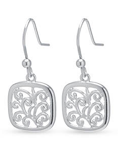 Belk Silverworks Sterling Silver Filigree Square Drop Earrings
