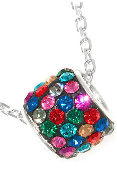 Belk Silverworks Pave Crystal Dark Multi Color Barrel Pendant