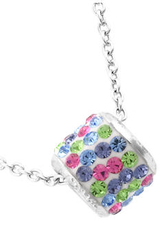 Belk Silverworks Sterling Silver and Pave Crystal Pastel Multi Barrel Pendant