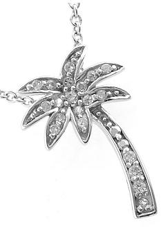 Belk Silverworks Cubic Zirconia And Sterling Silver Palm Tree Pendant
