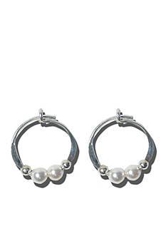 Belk Silverworks Sterling Silver Hoop Earrings With Austrian Crystal Pearls