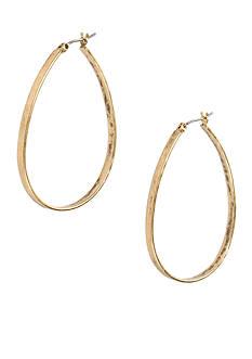 Lucky Brand Jewelry Vintage Silver-Tone Oblong Hoop Earring