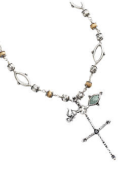 Lucky Brand Jewelry Beaded Cross Charm Necklace