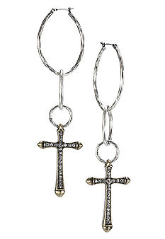 Lucky Brand Jewelry Silver Hammered Hoop Cross Earrings