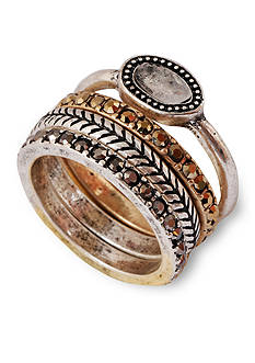 Lucky Brand Jewelry Two-Tone Organic Stone Stack Ring