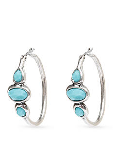 Lucky Brand Jewelry Turquoise Stone Hoop Earring