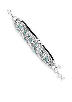 Lucky Brand Jewelry Silver-Tone Mini Turquoise Wrap Bracelet