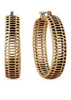Lucky Brand Jewelry Gold-Tone Abstract Hoop Earrings