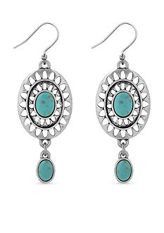 Lucky Brand Jewelry Silver-Tone Turquoise Double Dangle Earring