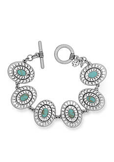 Lucky Brand Jewelry Silver-Tone Openwork Turquoise Link Bracelet