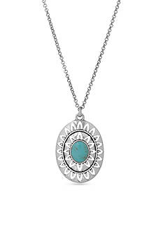 Lucky Brand Jewelry Silver-Tone Turquoise Openwork Pendant Necklace