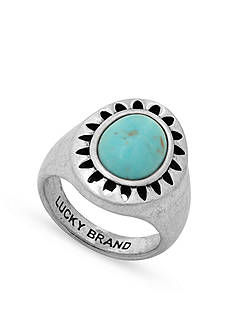 Lucky Brand Jewelry Silver-Tone Turquoise Ring