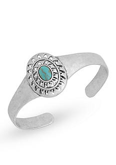Lucky Brand Jewelry Silver-Tone Turquoise Openwork Cuff