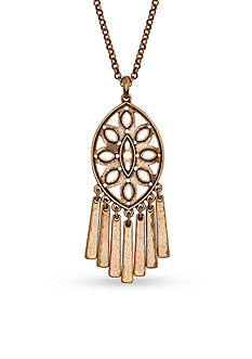 Lucky Brand Jewelry Gold-Tone Openwork Long Pendant Necklace