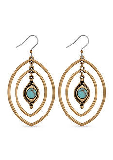 Lucky Brand Jewelry Gold-Tone Turquoise Oval Double Drop Earrings