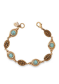 Lucky Brand Jewelry Gold-Tone Turquoise Link Bracelet