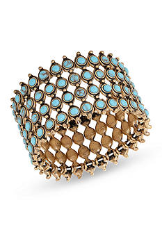 Lucky Brand Jewelry Gold-Tone Turquoise Statement Cuff Bracelet