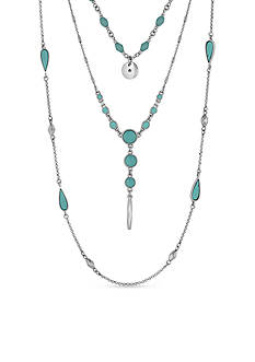 Lucky Brand Jewelry Silver-Tone and Turquoise Wrap Necklace