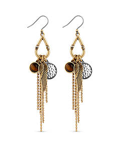 Lucky Brand Jewelry Two-Tone Charm Drop Earrings