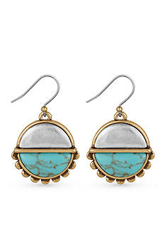 Lucky Brand Jewelry Two-Tone Turquoise Drop Earrings