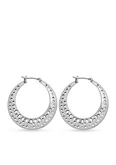 Lucky Brand Jewelry Silver-Tone Openwork Hoop Earrings
