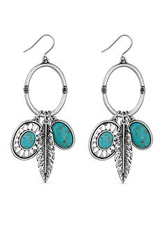 Lucky Brand Jewelry Silver-Tone Turquoise Charm Earrings