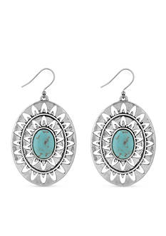 Lucky Brand Jewelry Silver-Tone Turquoise Openwork Drop Earrings