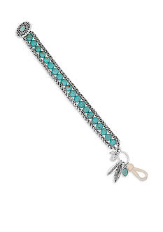 Lucky Brand Jewelry Silver-Tone Beaded Turquoise Bracelet