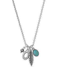Lucky Brand Jewelry Silver-Tone Turquoise Charm Pendant Necklace