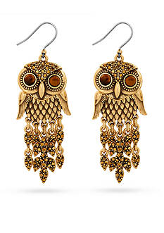 Lucky Brand Jewelry Gold-Tone Owl Drop Earrings