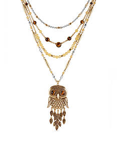 Lucky Brand Jewelry Owl Statement Layered Necklace