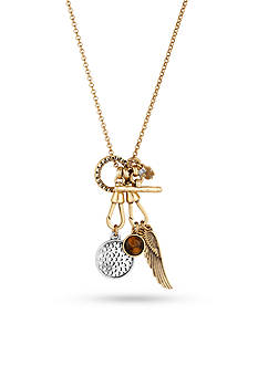 Lucky Brand Jewelry Two-Tone Wing Charm Long Necklace