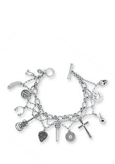 Lucky Brand Jewelry Silver-Tone Rock And Roll Charm Bracelet