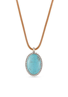 Lucky Brand Jewelry Silver-Tone Leather Turquoise Pendant Necklace
