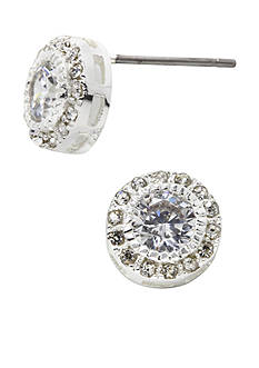 New Directions Round Crystal Pave Boxed Earrings
